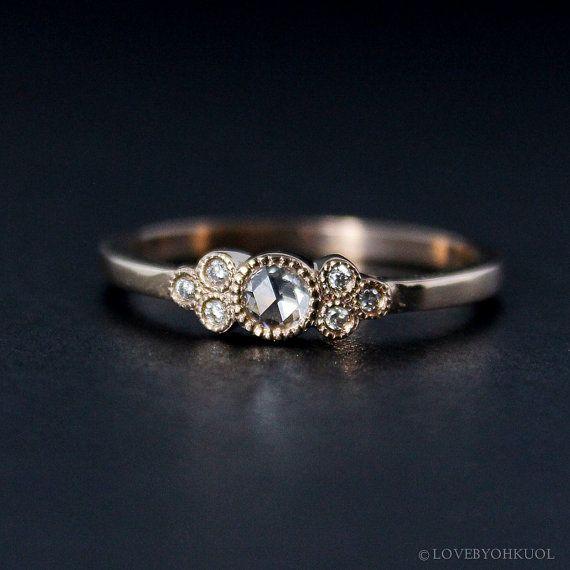 Rose Schnitt Diamant Verlobungsring - Hand Milgrain - Vintage inspiriert - 14kt Roségold