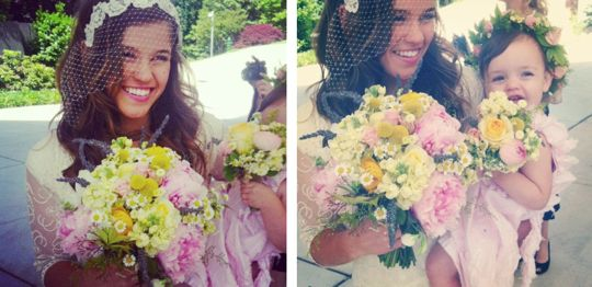 I LOVE the flowers, colors, bride's headpiece and flower girl crown: Color Schemes, Brides, Wedding Flowers, Bride S Headpiece, Flower Girl Crown, Flower Colors, Flower Girls, Bright Flowers, Wedding Headpieces