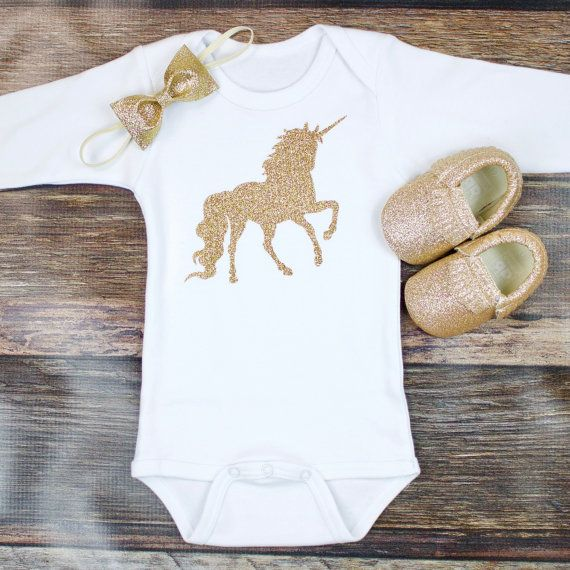 Gold Glitter Unicorn - Gold Girls Onesie with Unicorn in Glitter Gold   Gold Glitter Bow   Newborn Unicorn Take home outfit