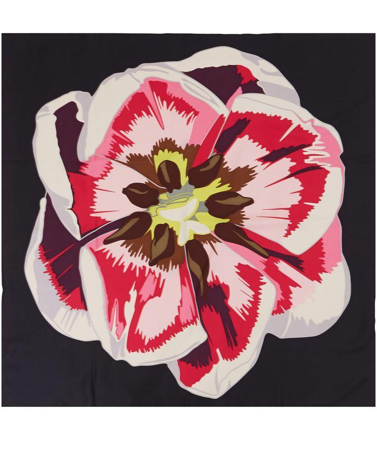 Christopher Kane Black Screen Print Tulip Silk Scarf | Scarves | Liberty.co.uk