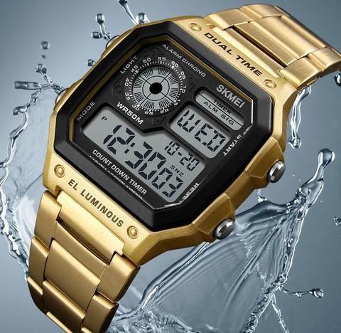 e26f0c6f632 relógio masculino quadrado digital cassio barato com led a prova de agua  relógio cassio feminino preto
