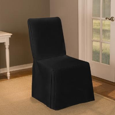 Attractive Maytex Twill Parsons Chair Cover, Long Skirt, Black
