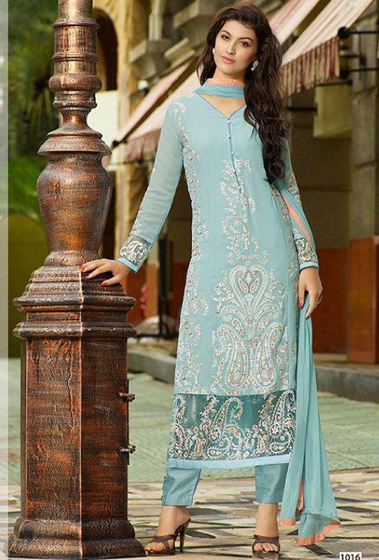 Blue Georgette Suit - Desi Royale