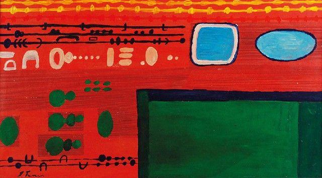 Jan TARASIN (1926-2009)  Kompozycja olej, tektura; 30,5 x 55 cm (w świetle oprawy);
