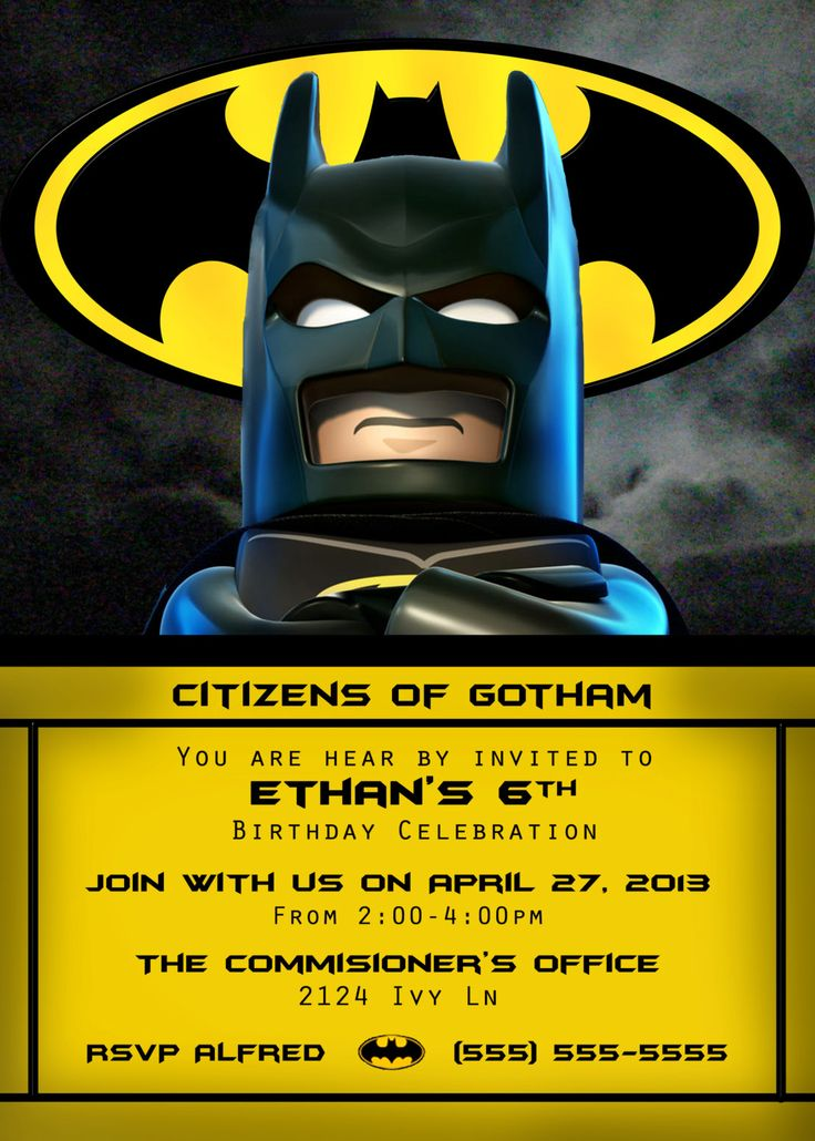 Lego Batman Invitation 4x6 or 5x7 by OrchidAvePrintables on Etsy, $4.99