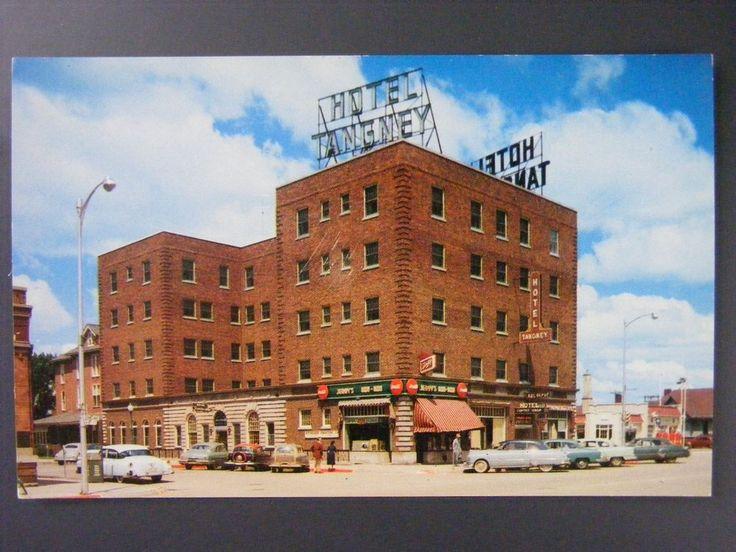 Spencer Iowa Hotel Tangney Coke Signs Cars Gas Station Vintage Postcard 1957