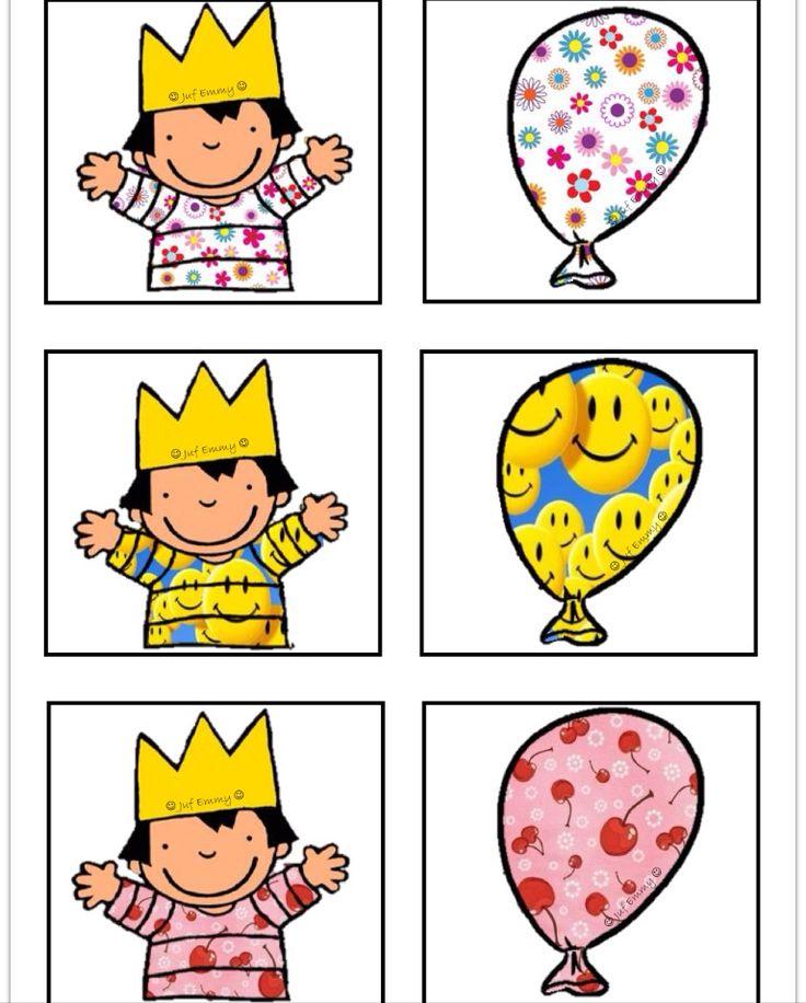 Memorie op een andere manier deel 2 Zoek dezelfde ballon als het motief op de t-shirt van Anna. Juf Emmy