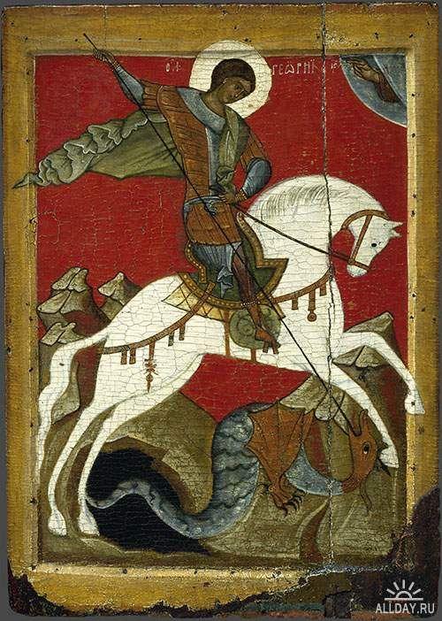 Чудо Св. Георгия о змие. Новгородская икона XV века.