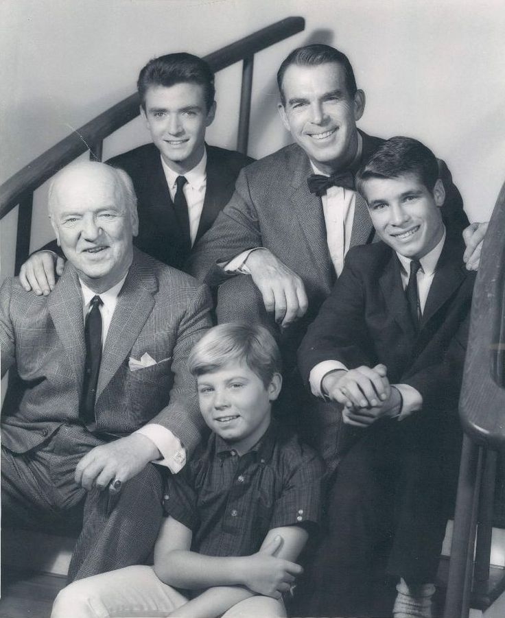 My Three Sons. William Frawley as Bob, Tim Considine as Mike, Stanley Livingston as Chip, Fred MacMurray as Steve, and Don Grady as Robbie from My Three Sons.