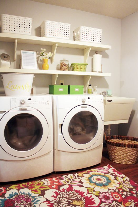 Floating shelves: Decor, Room Ideas, Laundry Area, Space, Organization Ideas, Colorful Rugs, Laundryroom, Organized Laundry Rooms