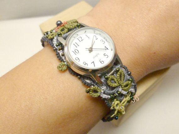 Watch with fiber art tatted band of flowers and by SnappyTatter