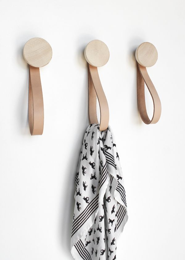 Beech Wood Wall Hook With Leather Loop Trendy Wooden Wall Hooks With A Leather Loop Strap To Hang Your Coat Or Wooden Coat Hooks Wall Hooks Wooden Wall Hooks