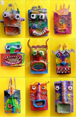 """Recycled Faces- children's workshops 059. Re-pinned by Elizabeth VanBuskirk on """"Teaching about the Incas."""" Here are more examples of masks made in the classroom. Learn about an Inca fiesta where reenactments are performed by masked dancers."""