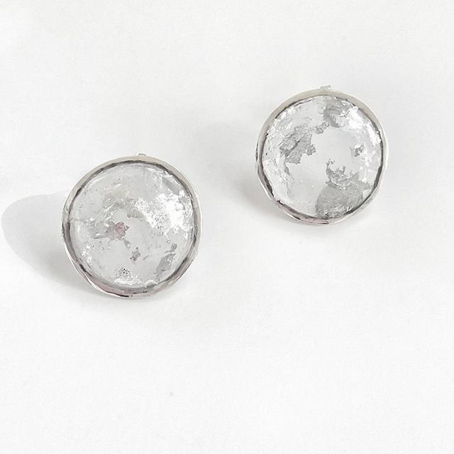 Transparent sterling silver earrings with silver flakes and domed resin! #sterling#silver#transparent#effect#flakes#handmade#jewelry#jewellery#designer#earrings#greekdesigners#collection#lessismore#beautiful#fashion##wedesignyourrichdrops#richdrop