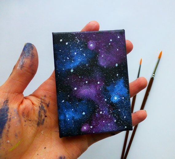 Galaxy Canvas - Mini Painting - Fridge Magnet - Magnet Art - Painted Galaxy - Kitchen Decor