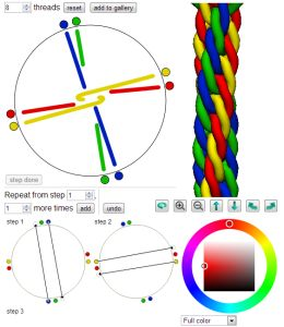 Braid 3D - Create and color new braid structures in 3D We experimented and discovered you could make patterns with more threads using the same wheels, and eventually discovered that it was a form of Japanese braiding called Kumihimo...We realized that this sort of thing could be useful for other creative projects... There are other craft design tools here too. Pattern Grid gives you an editable grid, with photo conversion tools which can be used to make cross stitch, ....