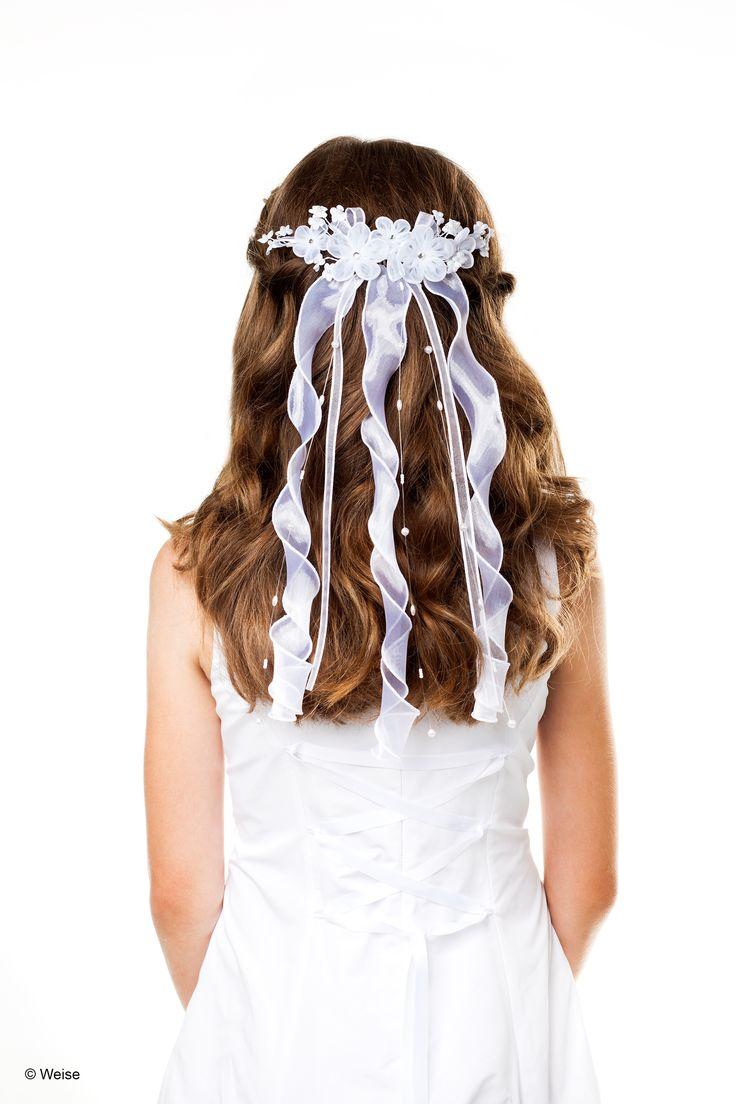 Haargesteck - Blüten - Kommunion - weiß      Haargesteck mit Einsteckkamm für Mädchen von Weise     Farbe: weiß