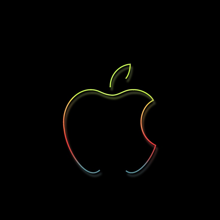 Apple Logo as a colorful silhouette rendering with a little glow against a shiny black surface.