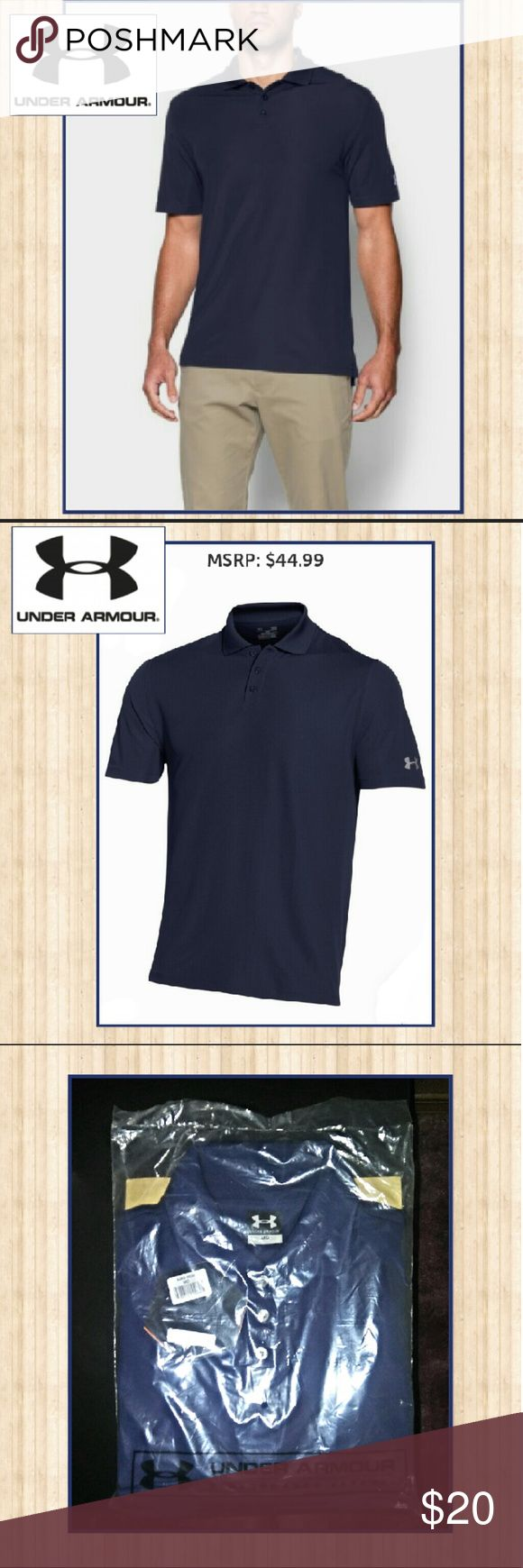 Under Armour Performance Apparel Collared Shirt Mens Under Armour Performance Apparel Collared Shirt up for sale! NWT, in bag still! Retails for $44 but less than half the cost here! Take advantage of this steal of a deal now! Color is navy blue and size is Medium. Please like or share! Under Armour Shirts