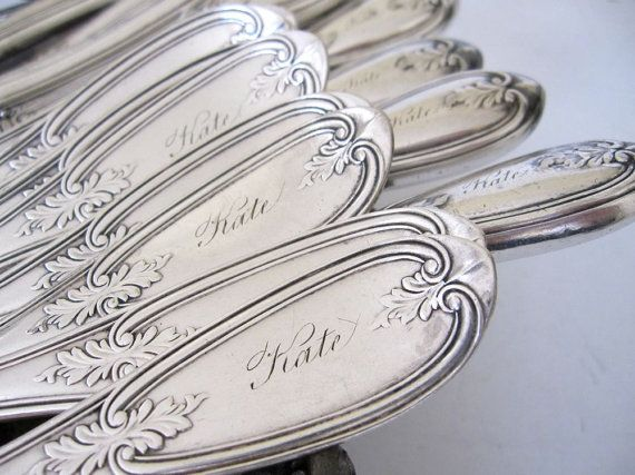Victorian Flatware Engraved KATE 10 Forks and 10 Knives Olive, 1848, Pattern by Rogers Smith & Co