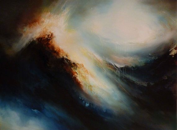 "Large Canvas Abstract Oil Painting by Artist Simon Kenny "" Between Heaven and Earth"""