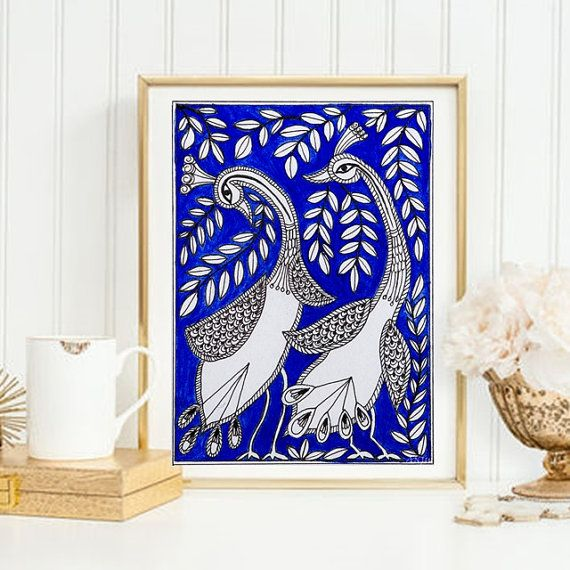 Madhubani or Mithila painting is a celebrated form of folk art from India. It is an intense artwork created in bright, natural colors and happy themes