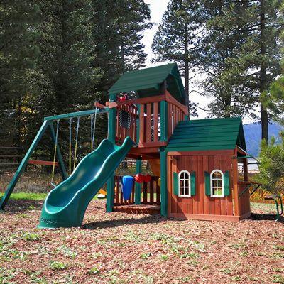 swing set supplies | Swing-N-Slide Summerville Playhouse Complete Wood Swing Set Kit