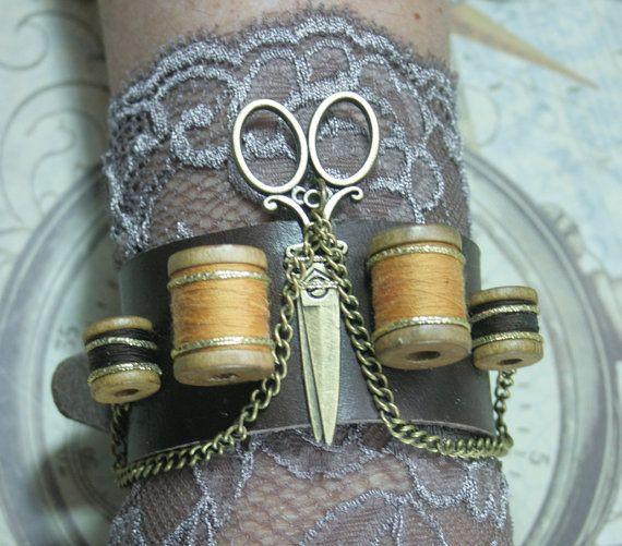 Seamstress steampunk cuff, steampunk cuff, leather bracer, dressmaker cuff bracelet, leather sewing cuff