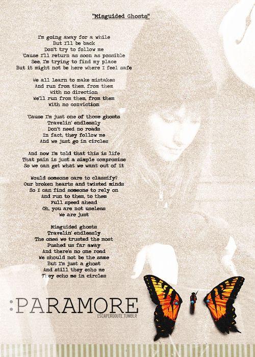 Misguided Ghosts lyrics, Paramore