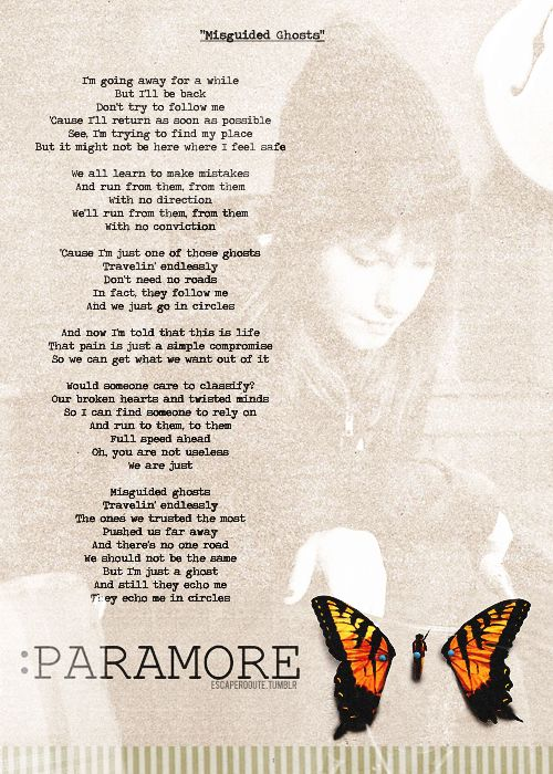 Misguided Ghosts lyrics, Paramore | I'm in the Business of ... Paramore Lyrics