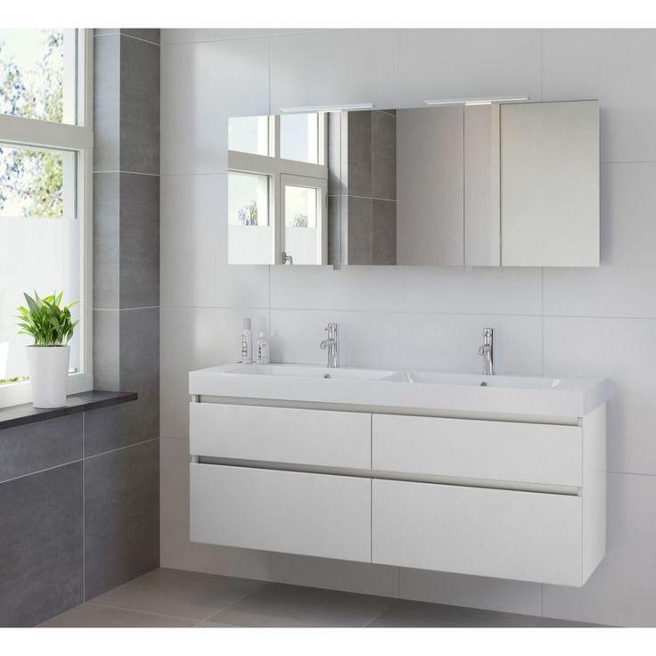 Bruynzeel Pinto meubelset 150cm dubbele wastafel spiegelkast led wit - 223090k - Sanitairwinkel.nl