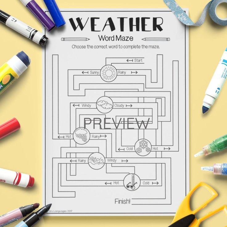 weather 39 maze 39 esl kids weather vocabulary vocabulary activities maze transportation. Black Bedroom Furniture Sets. Home Design Ideas