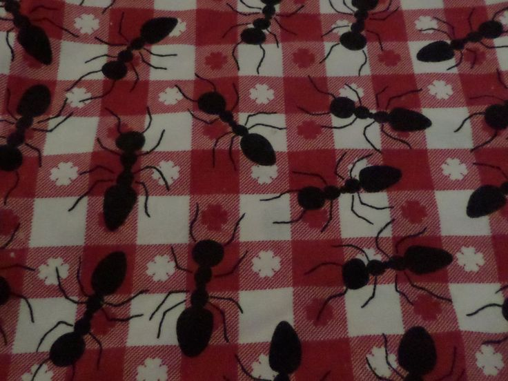 Red and White Check Tablecloth with Ants - Picnic Tablecloth - Rectangular
