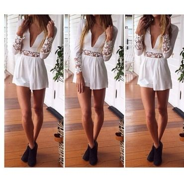 Sexy Long Sleeves Solid White One-piece Regular Jumpsuit