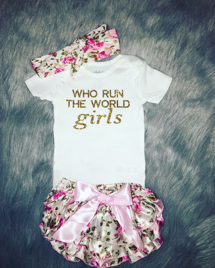Who run the world girls baby girl outfit, baby girl clothes, baby girl onesie…