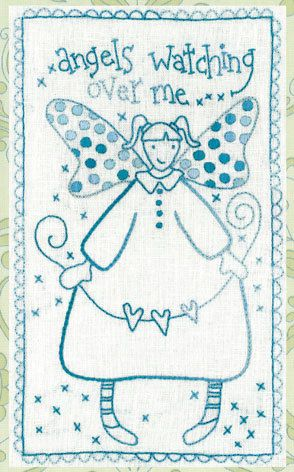 """""""Polka Dot Dreams"""" series of stitcheries - from Rosalie Quinlan Designs (as seen in picture 1).    This design, Angels Watching, is screen-printing on good quality hanky-linen with dimensions 20cm (8"""") x 30cm (12"""") ready for you to stitch with your favourite threads.    Personalise this stitchery by making it your way! Choose your favourite embroidery threads and stitches. Use two strands of thread to stitch.    This design is perfect for variegated threads such as the Cottage Garden Threads…"""