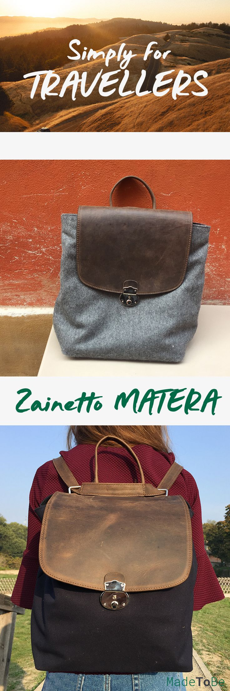Matera Backpack....Simply for Travellers - handmade by MadeToBe