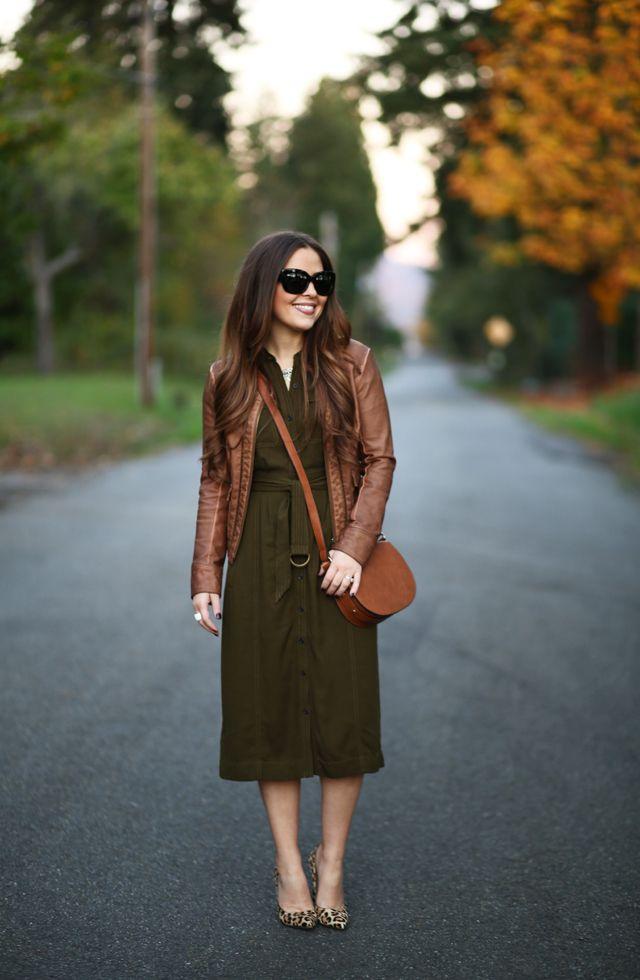 olive shirtdress leopard pumps cognac leather jacket