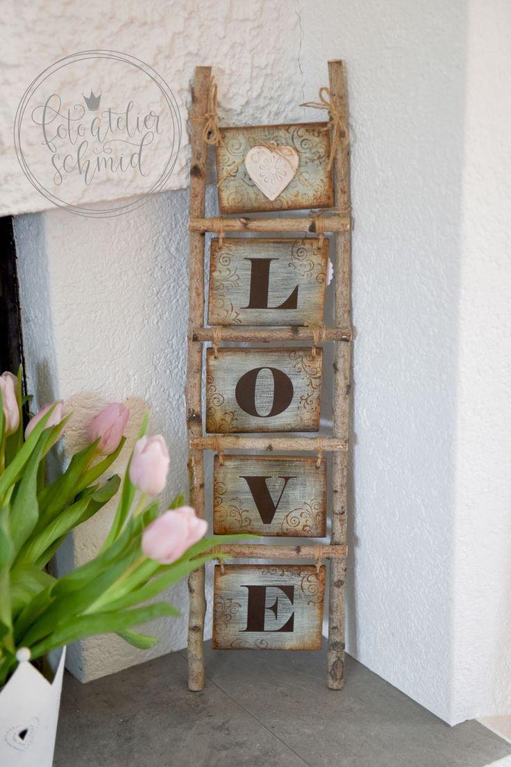 """kleine Leiter aus Birkenholz """"Love"""" 1"""