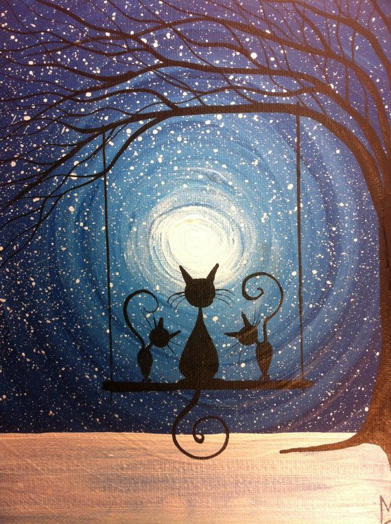 Whimsical kitty cat silhouette art - Cats on a swing painting Waiting for the Magic10 by MichaelHProsper