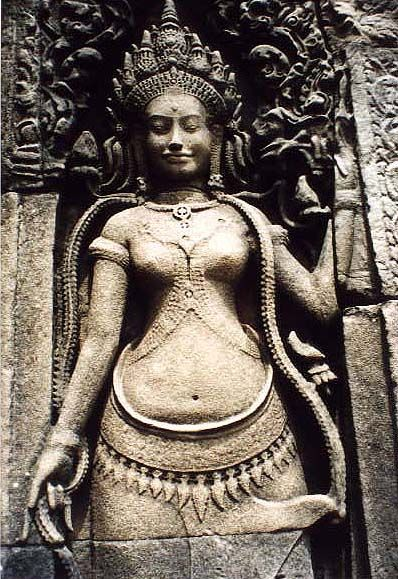 Apsara angel. Angkor Wat, Cambodia. An Apsara is a female spirit of the clouds and waters in Hindu and Buddhist mythology. To me this looks very similar to Yakshi images in India. They could also be compared to Valkyrie.