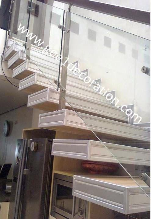 aluminium, kusen, kaca, partisi,  pintu, jendela, lipat, geser, swing, jungkit, pivot, sliding, : railing tangga
