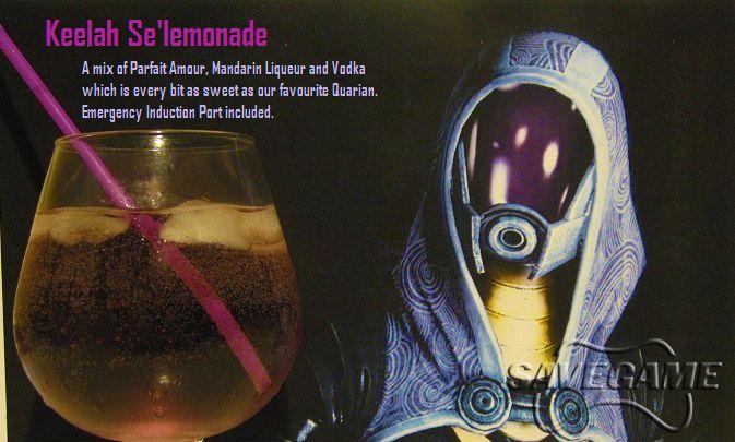 Keelah Se'lemonade - Tali'Zorah vas Normandy    Recipe  1 oz Parfait Amour  3/4 oz Mandarin Liquer  1/2 oz Vodka  Lemonade to fill
