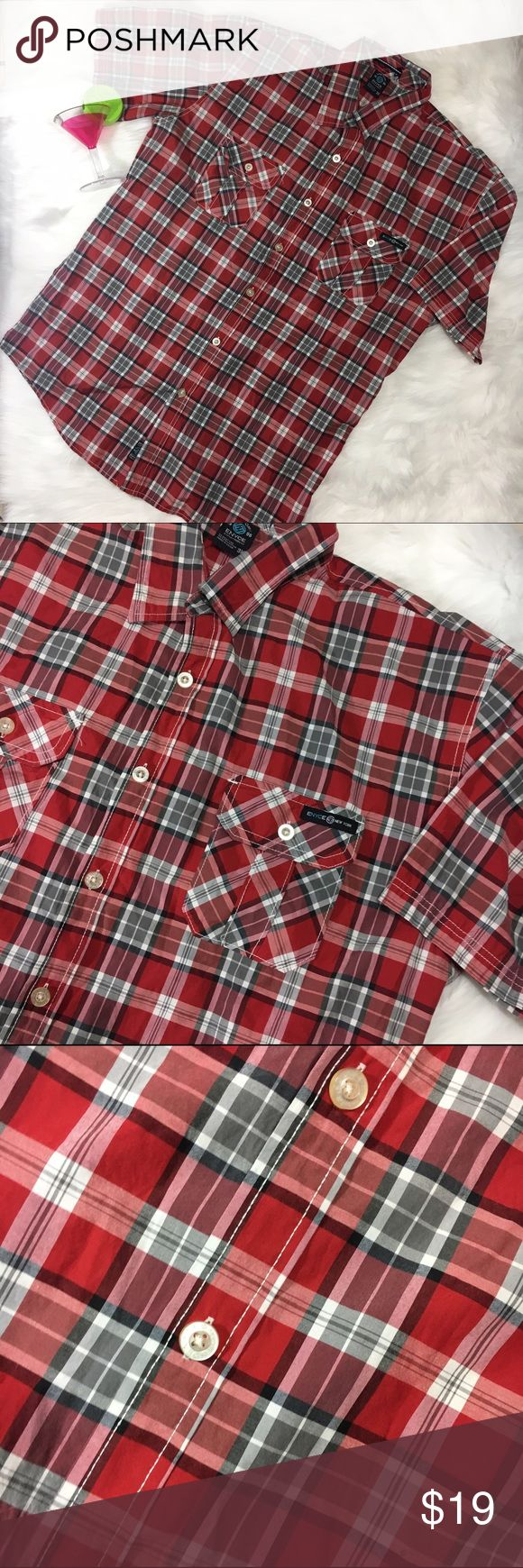 Enyce: A Sean Combs.Co Plaid Button Down Shirt •Button Flap Front Pockets •55% Cotton •45% Polyester •Chest 26 Inches •Length 32 inches Enyce Shirts Casual Button Down Shirts