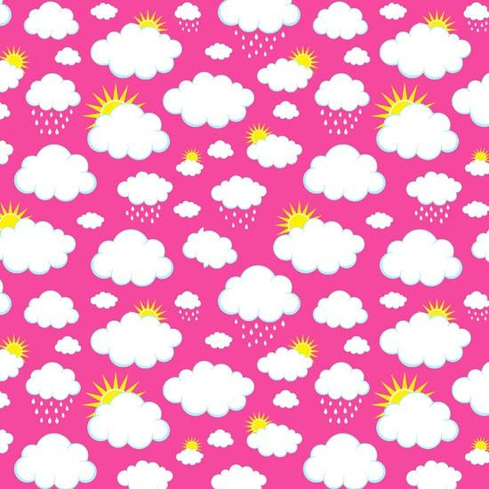 Clouds and Sun on Black Pink Purple or Aqua Blue Cotton Lycra Knit Jersey Fabric
