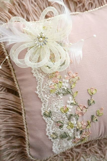 Pillow with ribbon embroidery and lace