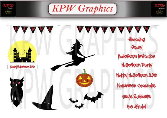 Halloween Clipart Accessories Pack 2 including by KPWgraphics