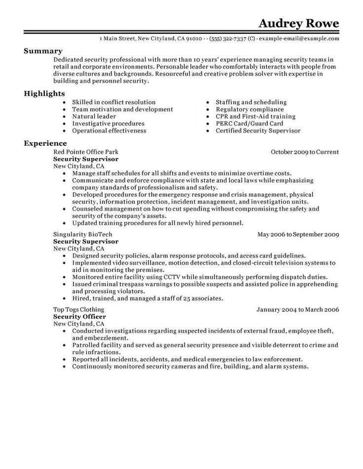 resume security guard resume examples fresh supervisor