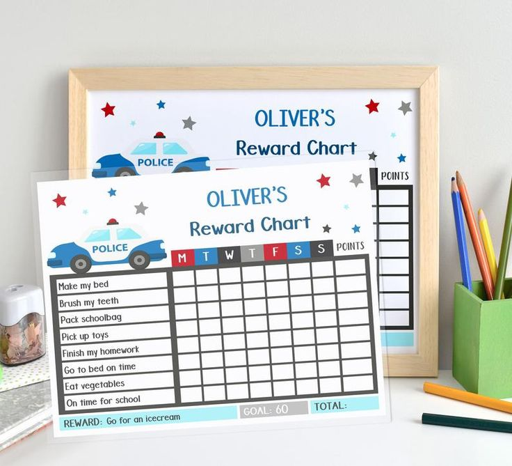 Boy Weekly Checklist Printable, Police Reward Chart