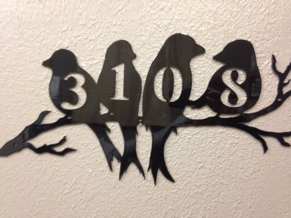 Inspiremetals black bird house numbers on etsy birds - House number plaque ideas ...